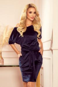 Granatowa CASSIE welurowa sukienka krótki rękaw...