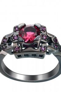 Nowy czarny pierścionek czerwona cyrkonia retro styl goth dark...