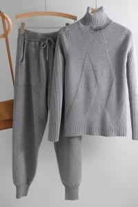 Nowy komplet dzianinowy dres szary sweter golf spodnie dresy sw...