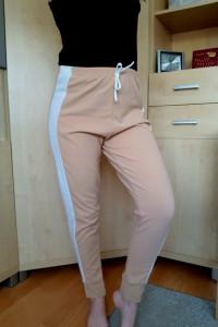 Spodnie dresy eleganckie morelowe lampas M 38 L 40 wysoki stan ...