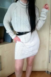 Sweter długi sukienka swetrowa warkocz mini wzór beż M 38...