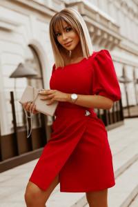 Sukienka bufki 36 38 40 42 mini broszka...