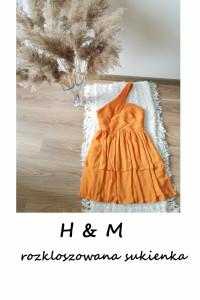 Miodowa pomarańczowa asymetryczna sukienka z falbanami S M...