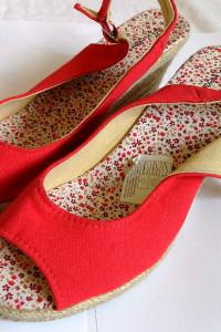 Czerwone sandały na koturnach espadryle 39 i 25cm