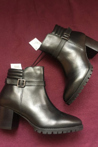 Esmara boots skóra naturalna skórzane botki na obcasie koturnie...