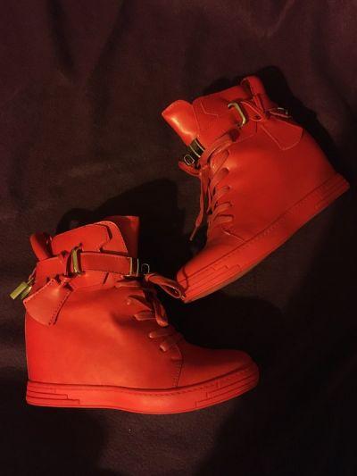 Koturny Sneakersy wysokie trampki tenisówki na koturnie czerwone zip zapinane koturna