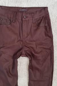 spodnie skórzane push up śliwka M...