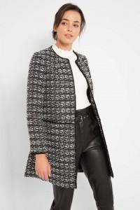 Nowy płaszcz Orsay L 40 biały czarny pepitka płaszczyk prosty p...