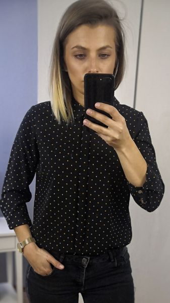 Koszule Koszula czarna w kropki