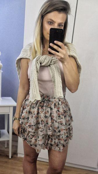 Spódnice Spódnica szyfonowa flower beżowa uniwersalna
