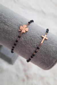 Nowa bransoletka czarne koraliki krzyż koniczynka stal chirurgi...