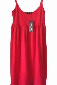 czerwona sukienka Strappy Tiered Smock Boohoo M 38