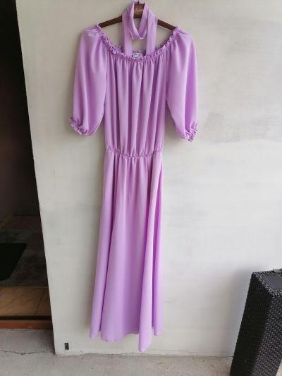 Suknie i sukienki Długa sukienka hiszpanka z rozcięciem liliowa 34