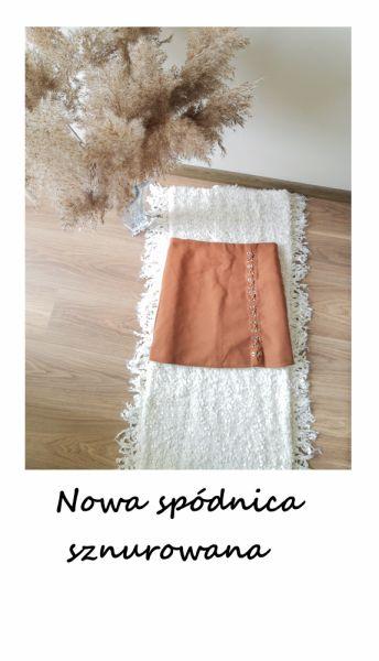 Spódnice Ruda karmelowa nowa spódnica sznurowana L XL