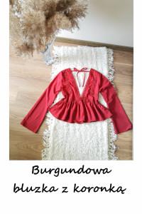 Burgundowa bluzka z koronką szerokie rękawy S M z falbanką...