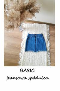Jeansowa spódnica basic minimalizm XXS granatowa bawełna...