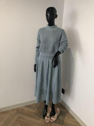 Komplety Piekny mietowy komplet sweterek plus spodnica one size