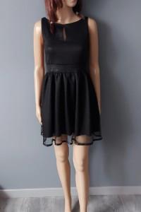 Czarna Sukienka Mini Prosta Roco 34 XS...