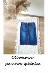 Ołówkowa jeansowa dopasowana spódnica z guzikami klasyka z prze...