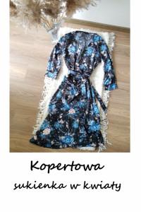 Kopertowa elegancka sukienka w kwiaty S M L asymetryczna z wiąz...