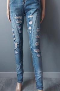 Spodnie Jeansowe Jeansy Dziury Przetarcia Rurki 36 S