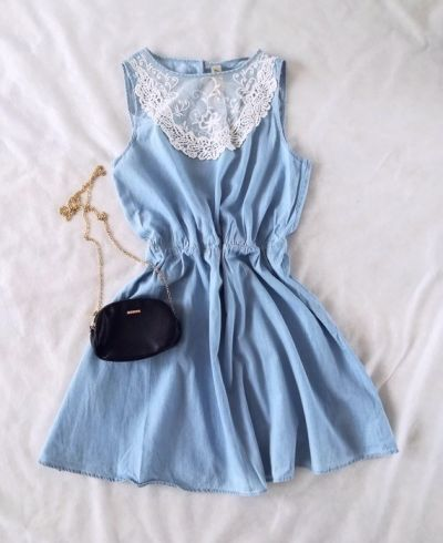 Suknie i sukienki Denim Co niebieska sukienka koronka L