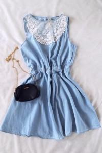 Denim Co niebieska sukienka koronka L