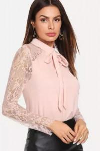Pudrowo różowa bluzka wiązana pod szyją L NOWA