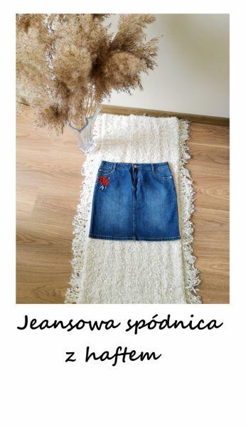 Spódnice Vintage jeansowa mini spódnica haftowane kwiaty