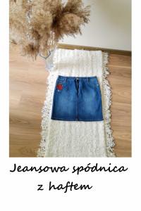 Vintage jeansowa mini spódnica haftowane kwiaty...