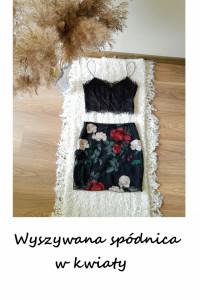 Haftowana mini spódniczka kwiaty XS S...