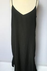 Sukienka Czarna Długa Maxi Prosta Lindex M 38 Rozporki...