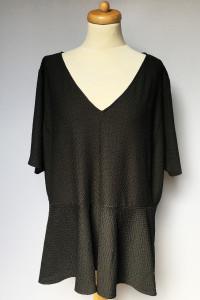 Bluzka Czarna H&M Plus Baskinka 3XL 46 Tłoczony Wzór...