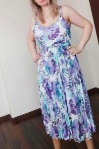 Sukienka plisowana w kwiaty rozmiar uniwersalny SML...