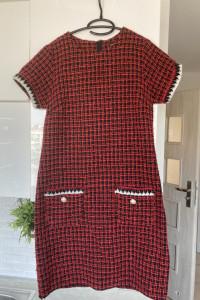 Dorothy Perkins czerwona sukienka tweed perły rozmiar 38...