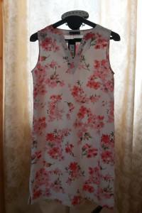 M&S sukienka lniana len we wzór kwiatowy...