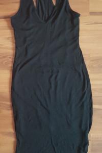 Mała czarna midi przed kolano sukienka dopasowana obcisła h&m S M 36 38 na codzień