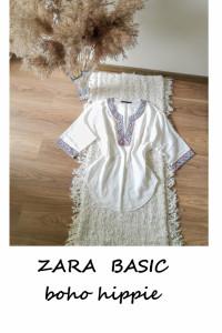 Bawełniana bluzka Zara Basic S M szerokie rękawy hipisowska boh...