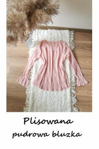 Elegancka plisowana bluzka S M pudrowy róż może być ciążowa