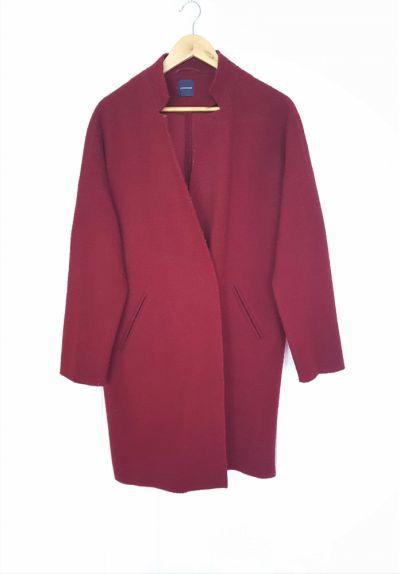 Odzież wierzchnia Płaszcz narzutka wdzianko Promod 42 XL wełna wełniane śliwka bordo ciepły