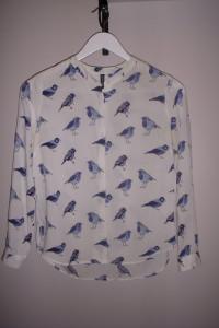 Koszula damska biała z wzorem w niebieskie ptaki długi rękaw 36...