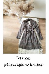 Trencz płaszcz w kratkę z paskiem wiosenny płaszczyk