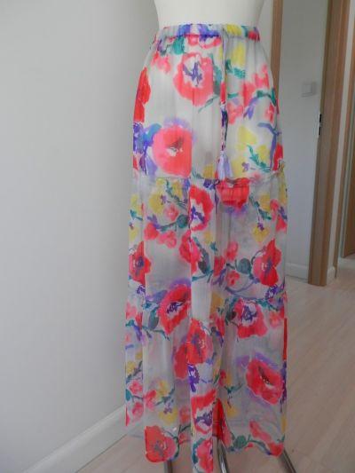 Spódnice Spódnica Plażowa Długa Szyfonowa Obłędne Kwiaty Papaya M