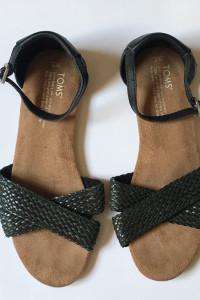 Sandały TOMS Czarne W7 37 245 cm Plecione Letnie...