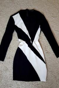 Sukienka mini obcisła tuba czarna biała ZARA zasuwana M 38 S 36...
