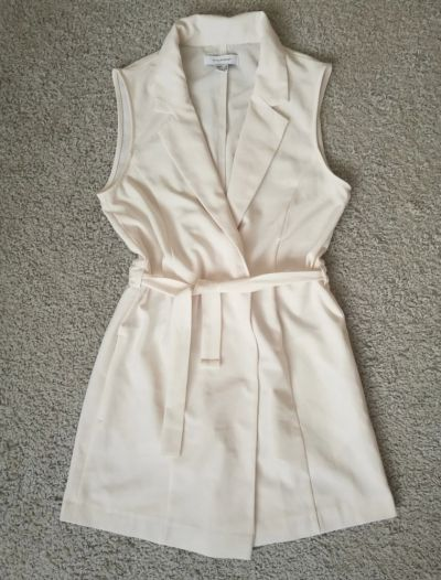 Suknie i sukienki Sukienka żakiet narzutka wiązana elegancka XS 34 S 36mini biała ecru