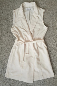 Sukienka żakiet narzutka wiązana elegancka XS 34 S 36mini biała ecru