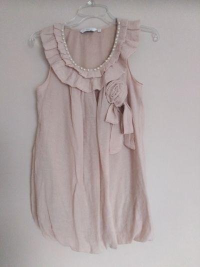 Bluzki New Look 36 S bluzka pudrowy róż pastelowa elegancka falbanki koraliki wiązanie