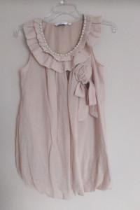 New Look 36 S bluzka pudrowy róż pastelowa elegancka falbanki k...
