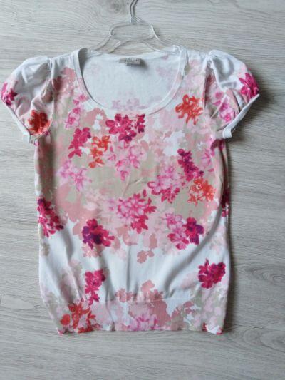 Bluzki Laura Ashley Occasion bluzka sweterkowa 40 L biała w kwiaty elegancka wizytowa krótki rękaw